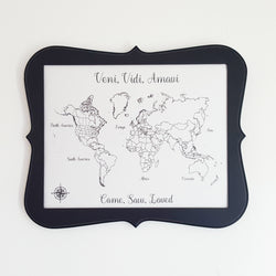 Veni, Vidi, Amavi - Ready to ship Framed World Push Pin Map