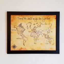 'Travel the world so you don't get lost' - Framed World Push Pin Map