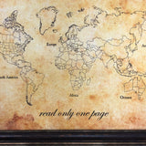 'The world is a book' World Push Pin Map
