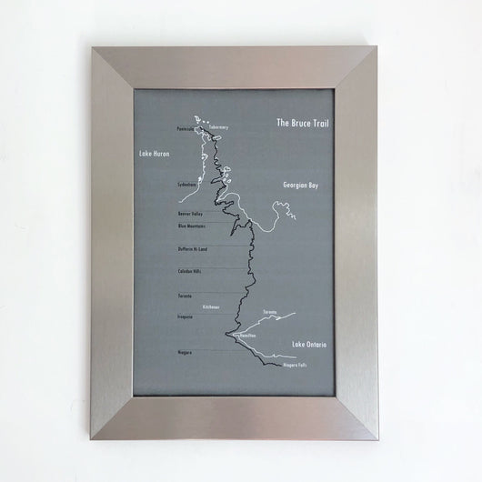 The Bruce Trail Map in Grey and White, Silver Frame