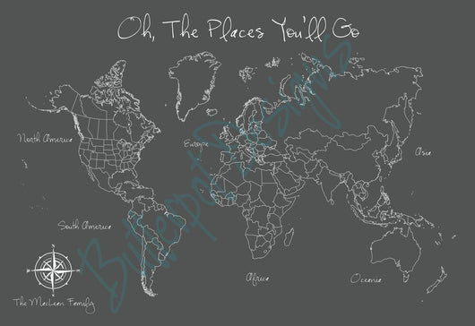 For Shannon: Bespoke Modern Style World Push Pin Travel Map