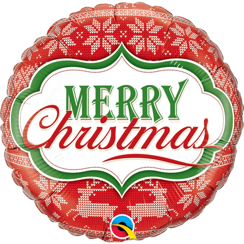 "Qualatex 18"" Foil Balloon - MERRY CHRISTMAS NORDIC PATTERN"