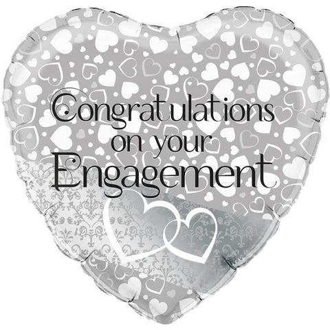 "Congratulations on Your Engagement 18"" Entwined Hearts Foil Balloon"
