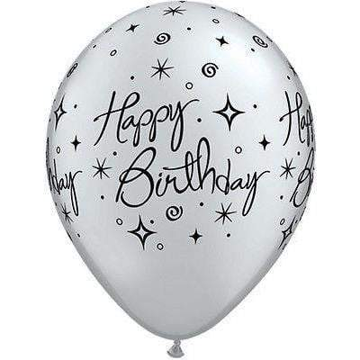 "Qualatex 11"" Happy Birthday Latex Balloons Silver Pack of 6"