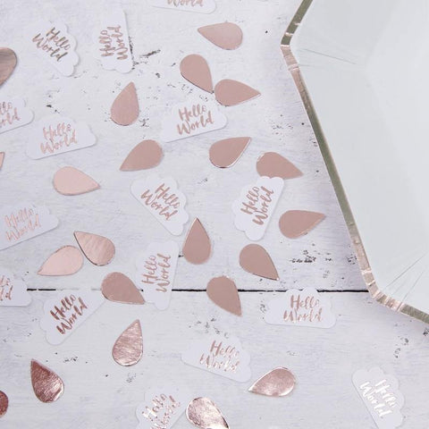 10 Rose Gold & Clouds Table Confetti - Hello World Range Baby Shower Decorations