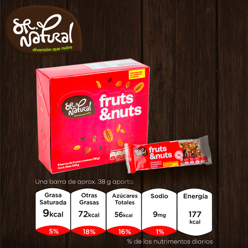 Barras Fruts&Nuts con frutos secos y nueces- 9 pack