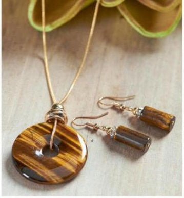 Tigerseye & Gold Adjustable Pendant Necklace Set