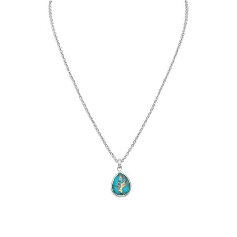Free form Faceted Quartz over Turquoise Pear Drop Necklace