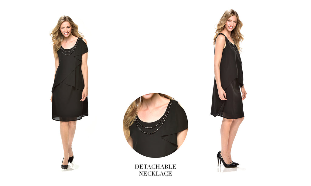 Black Sleeveless Layered Dress with detachable necklace 50% OFF