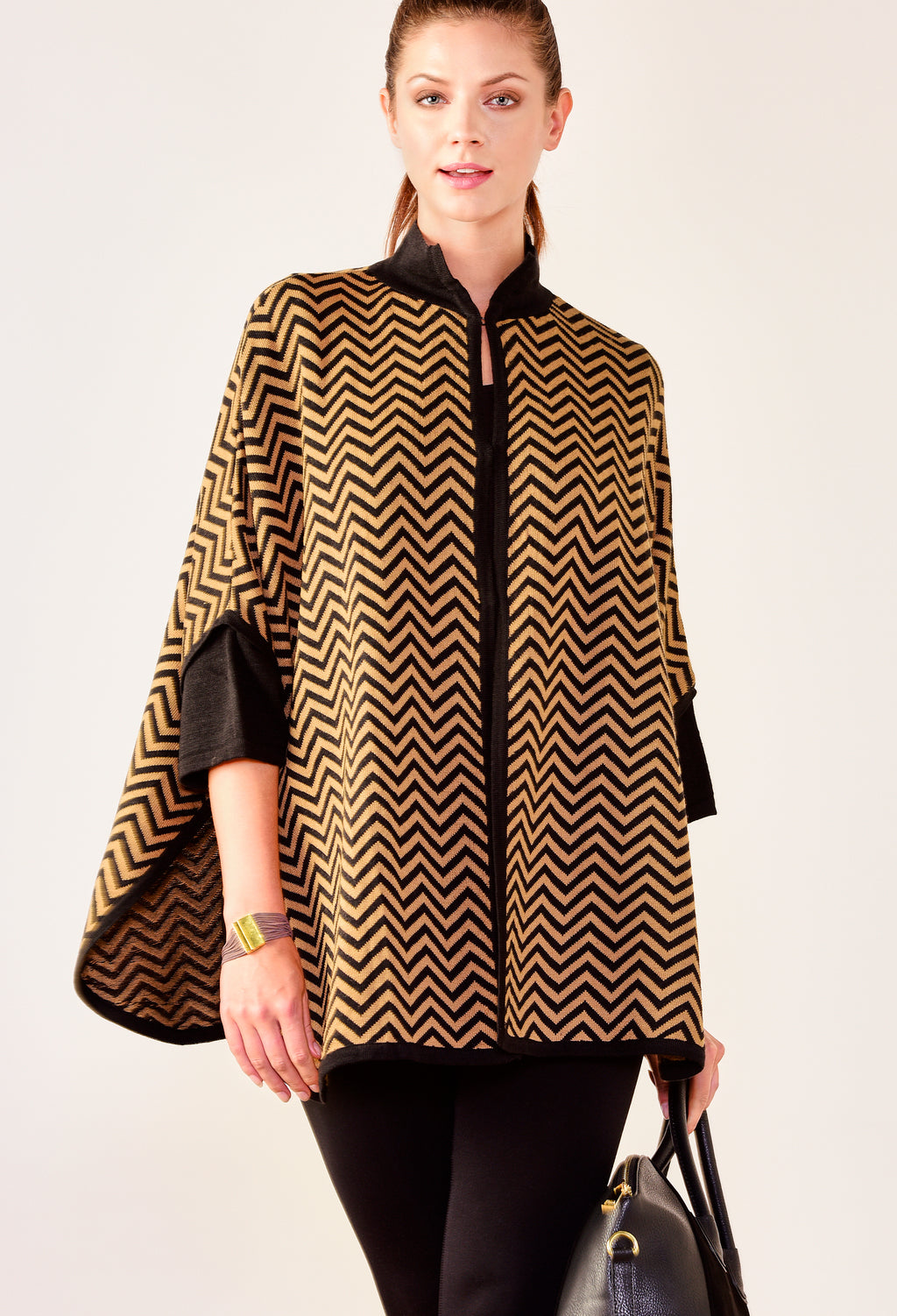 Black & Tan Chevron Cape