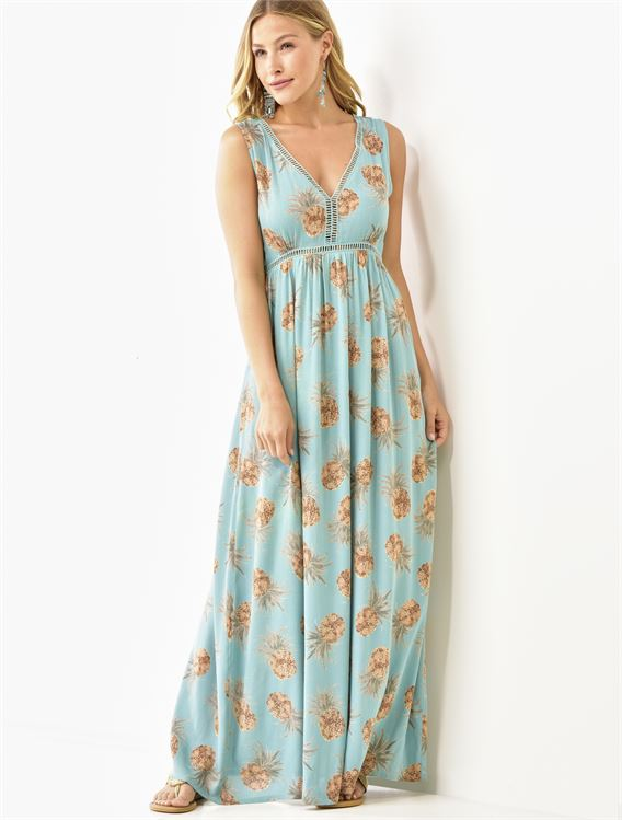 Sleeveless Pineapple Print Maxi Summer Dress 50% OFF