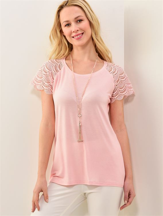 Knitted Top with Short Lace Sleeves 50% OFF