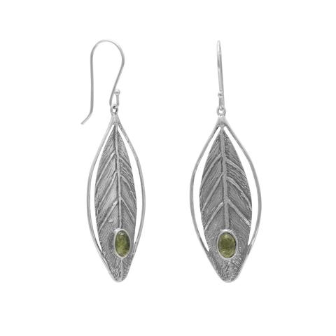 Sterling Silver Leaf Design Earrings with Peridot