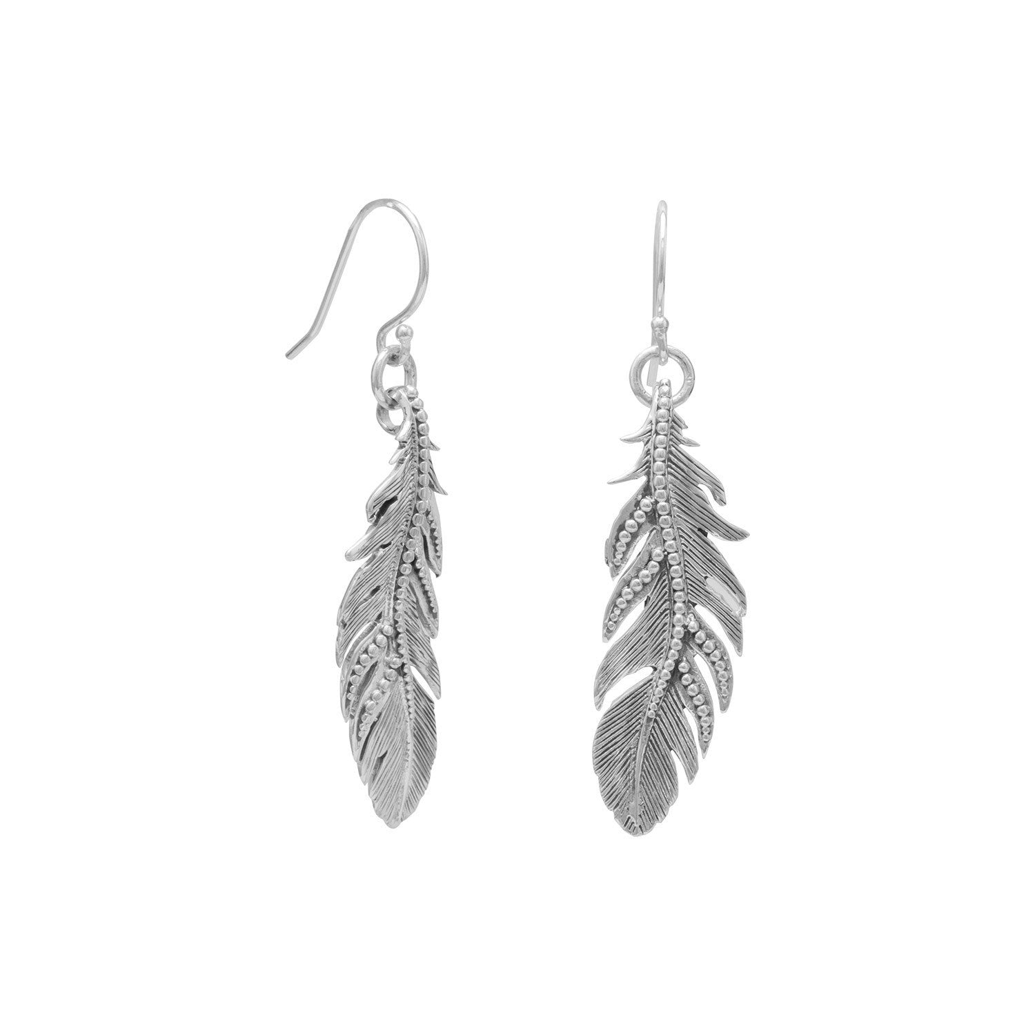 Oxidized Feather Earrings
