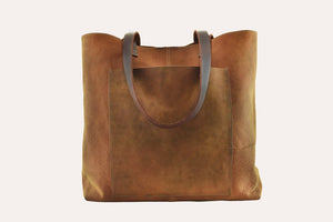 Brown Genuine Leather Tote