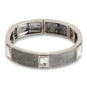 Antique Silver&Crystal Stretch Bracelet