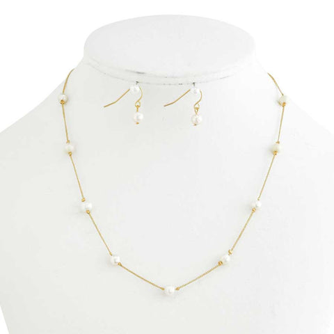 Gold/Pearl Linked Necklace & Earring Set