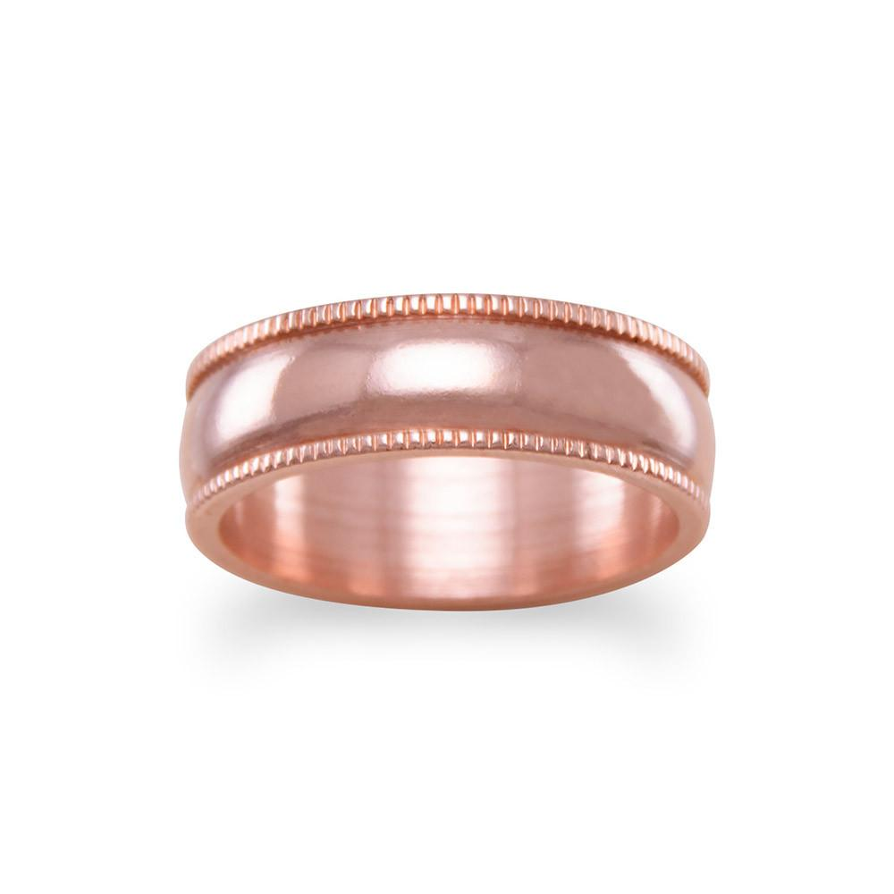 6mm Solid Copper with Milgrain Design Ring