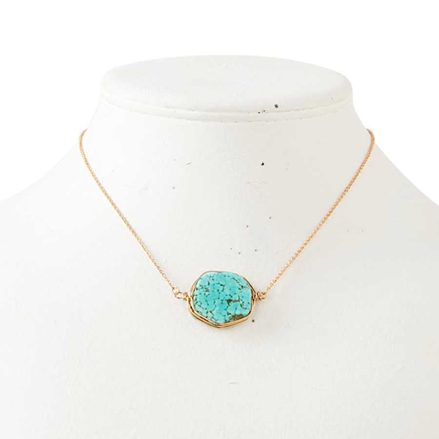 Turquoise Colored Gold Necklace