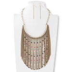 Antique Gold Multi Crystal & Chain Bib Necklace Set