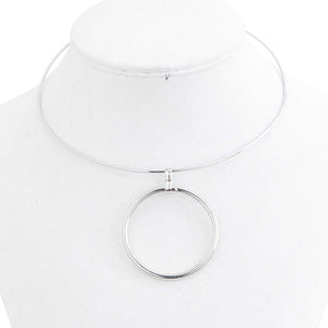 Silver Collar Necklace with Circle Drop