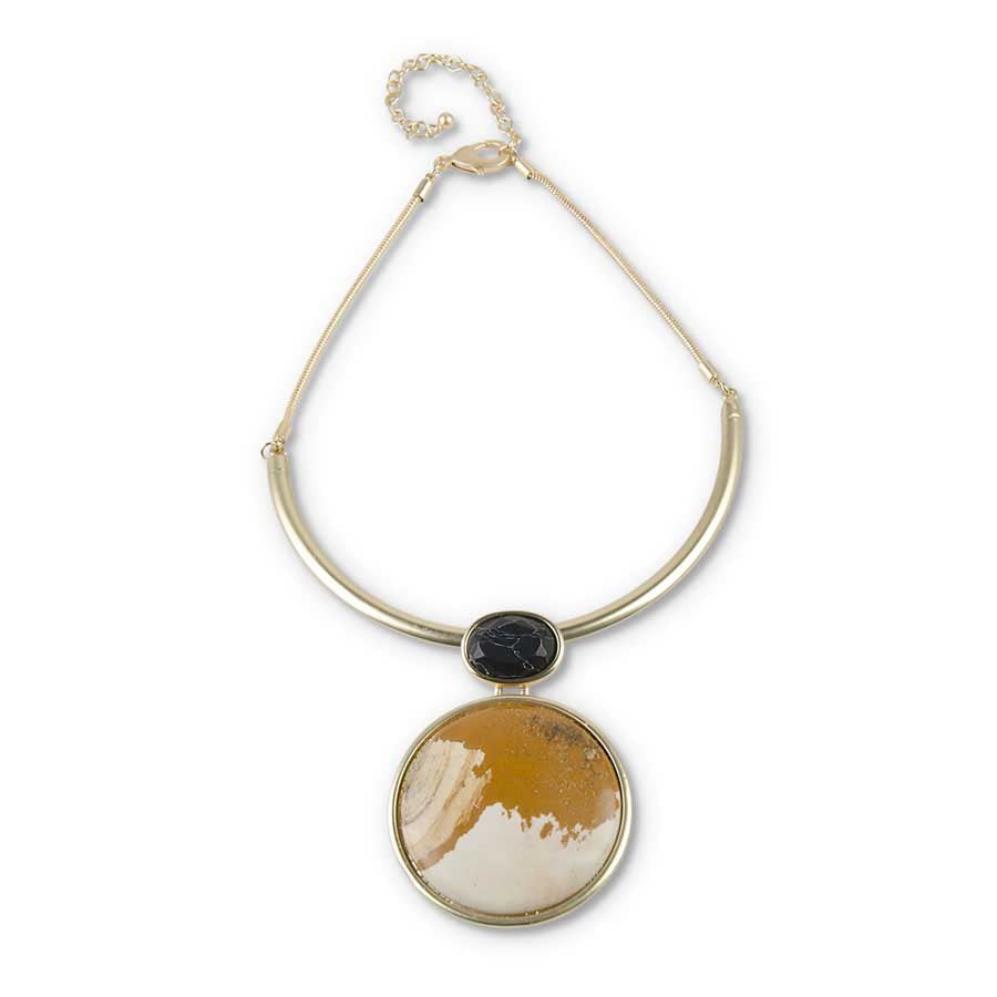 Antique Gold Jasper & Black Stone Pendant Necklace