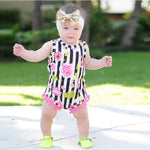Baby girl romper in stripes and roses