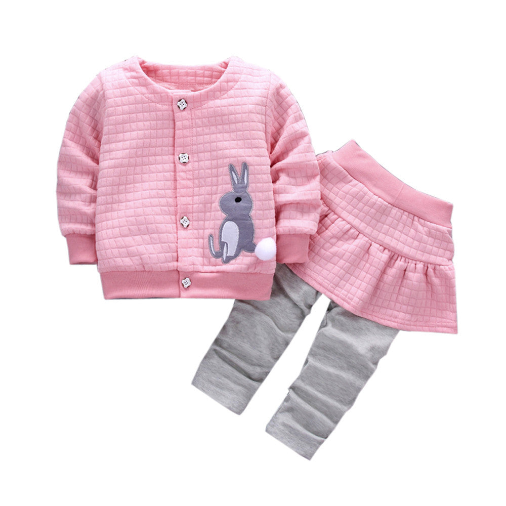 Baby girl two piece cotton rabbit skirt and skirt pants outfit