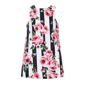 Girls Summer dress in stripes and roses or just roses