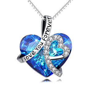 """Infinite Love"" - Aquamarine Zirkonia Silber ""I love you forever"" Halskette"