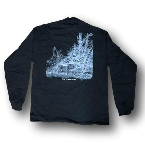 "Jim Tostrud's ""The Survivor"" Long Sleeve Black Mock Turtleneck - Deer Shack"