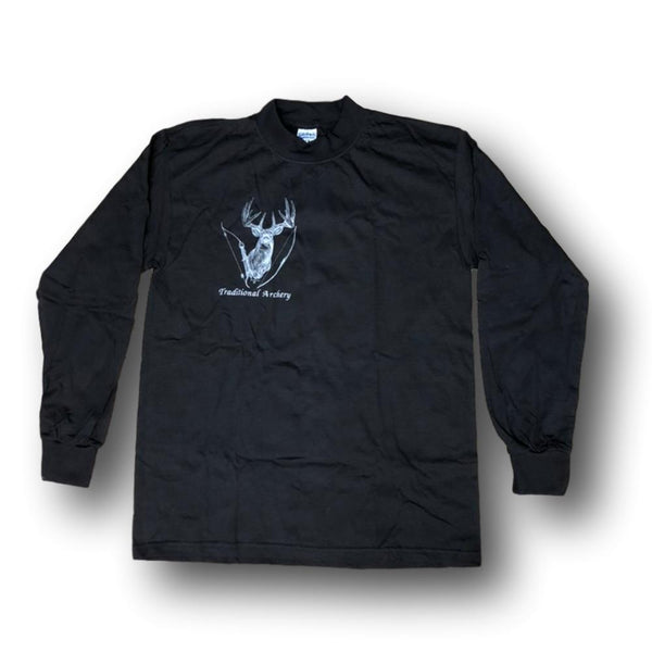 "Jim Tostrud's ""Traditional Bowhunter"" Long Sleeve Black Mock Turtleneck - Large - Deer Shack"