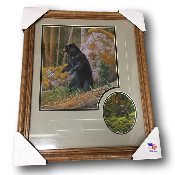 Classic Hunting Wildlife Framed Print - Bear with Close Up Accent - Deer Shack