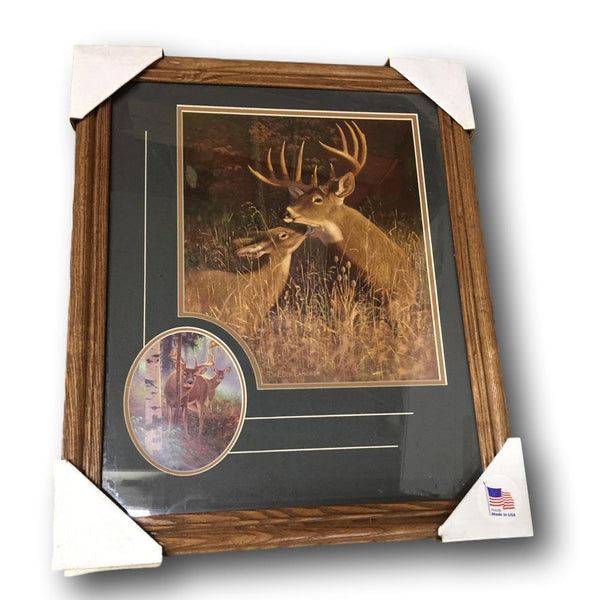 Classic Hunting Wildlife Framed Print - Morning Whitetail Deer with Close Up Accent - Deer Shack