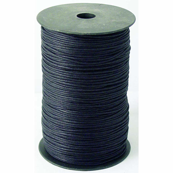 Black Waxed Cotton Cord Lace Spool - 1mm x 100 yards - 2mm x 100 yards - 2mm x 288 yards - Deer Shack