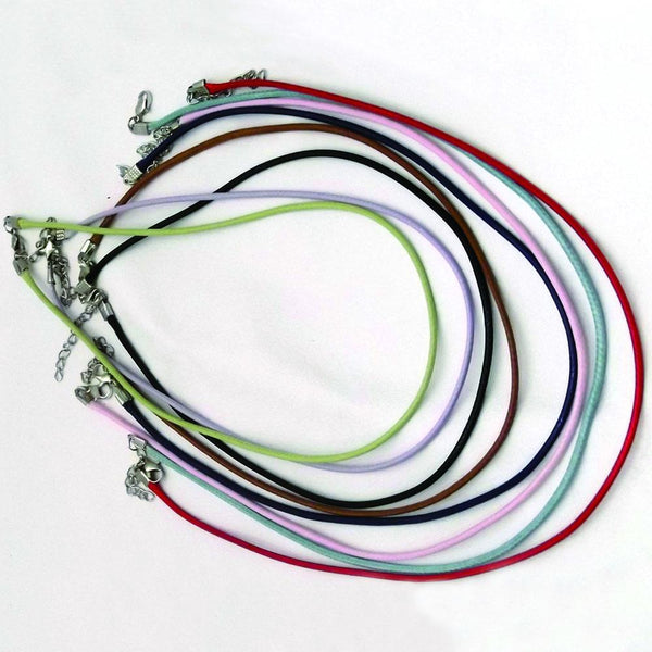 "Braided Waxed Cords - Necklace Craft Supplies with Chain & Clasp - 16"" to 24"" Jewelry - 12 Pack - Deer Shack"