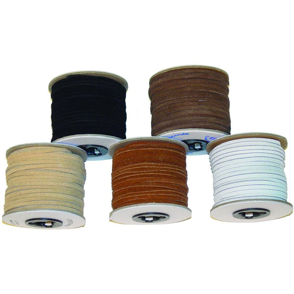 "Suede Leather Lace - 1/8"" x 25 yards - Black - Brown - Chocolate - Red - Cobalt - Toast - Beige - White - Deer Shack"