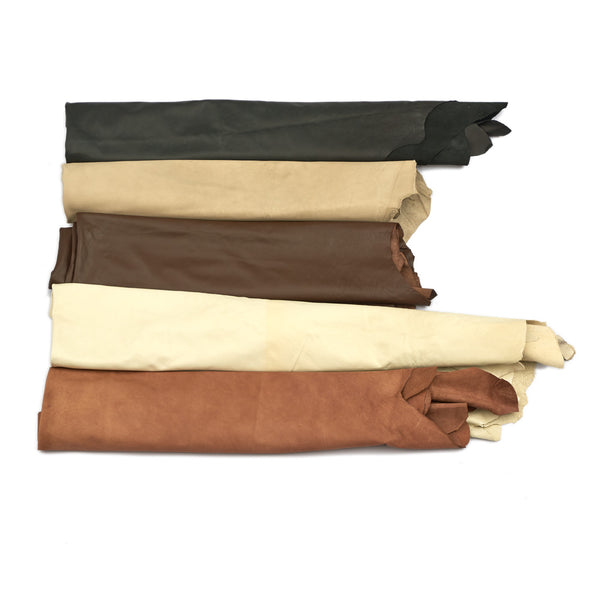 Large Assorted Upholstery Leather Hides - 42-46 Square Feet - B+ Grade - 2-4 oz Cowhide - Deer Shack