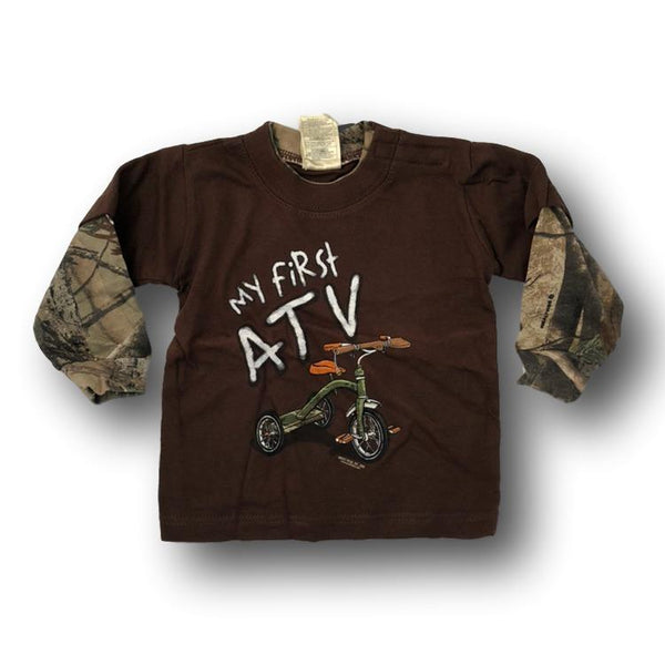 """My First ATV"" Little Hunter Brown & Camo Long Sleeve Tshirt - 12 Months - 18 Months - Deer Shack"