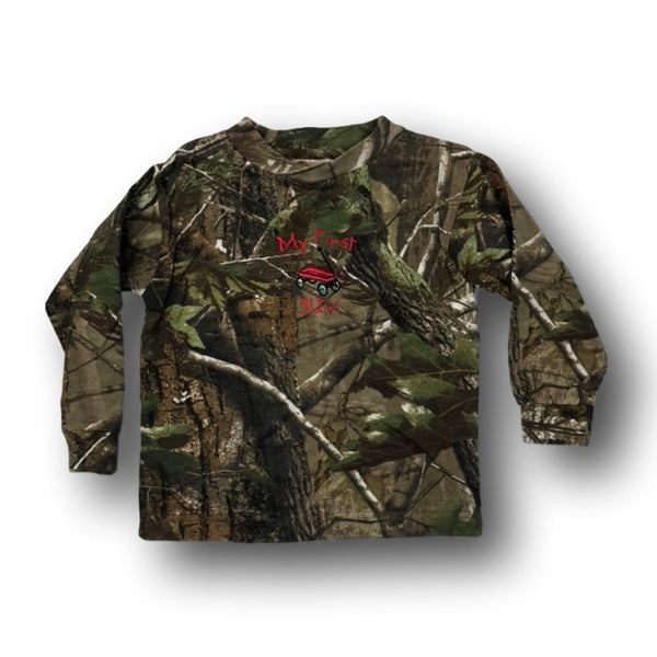 """My First SUV"" Long Sleeve Little Hunter Camo T-shirt - 18 Months - 2T - 4T - Deer Shack"