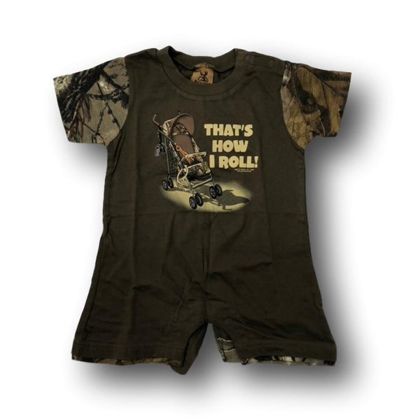 """That's How I Roll"" Little Hunter Camo One Piece Short Sleeve Romper- 18 Months - Deer Shack"