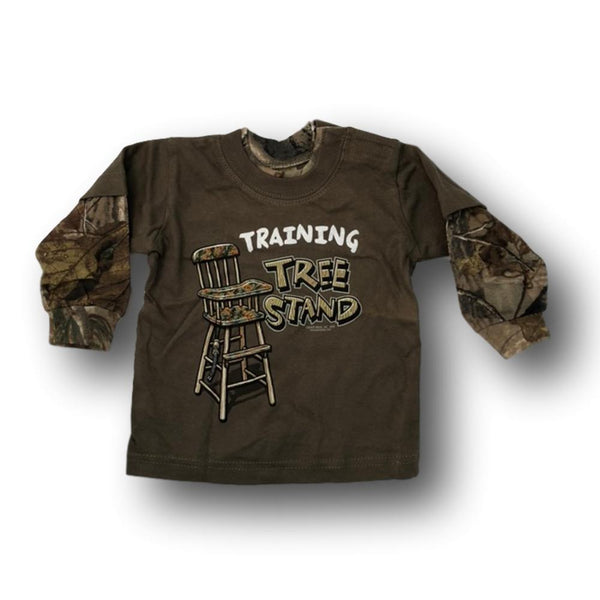 """Training Tree Stand"" Long Sleeve Camo Little Hunter T-shirt - 12 Months - Deer Shack"