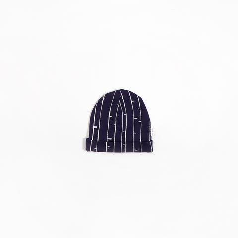 Long Navy Beanie - Bark Design