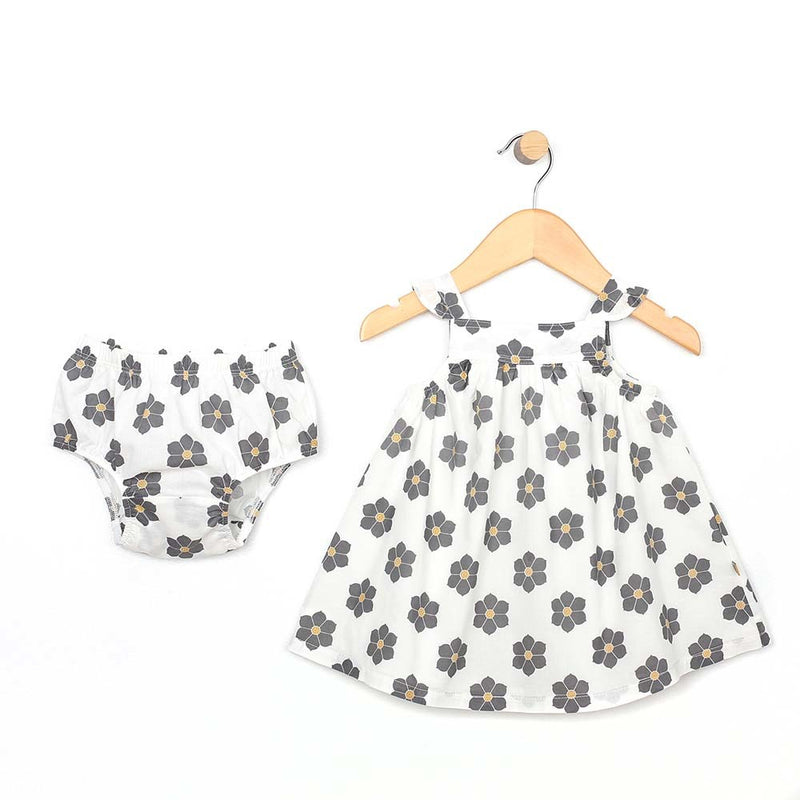 Floral Dress & Diaper Cover - Gray