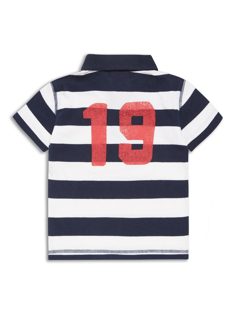 #Born to Win Rugby Polo - Navy/White Stripe
