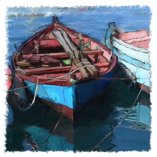 Blue Red Boat Giclee