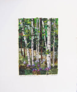 Birches and Sweet Peas Mosaic