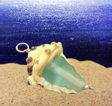 Beach Glass Conch Pendant