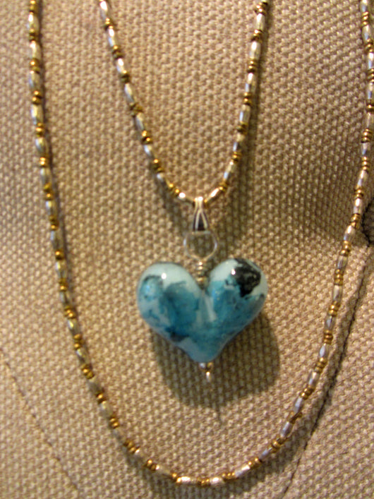 'Lake Michigan Blues' Heart Pendant