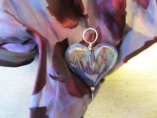 Plum Agate Extra Large Heart Pendant